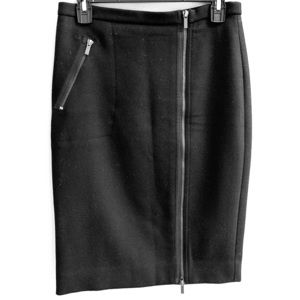 Black wool No. 2 pencil skirt